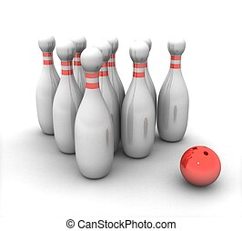 3d bowling with a red ball on white background