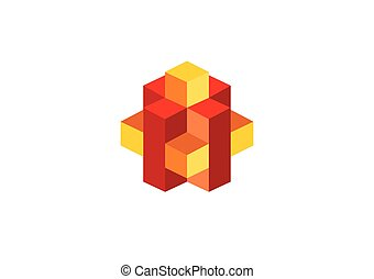 3D box geometry cube abstract vector logo