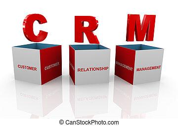 3d illustration of acronym crm - customer relationship management box.