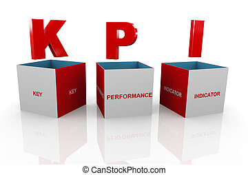 3d box of kpi - Key Performance Indicator
