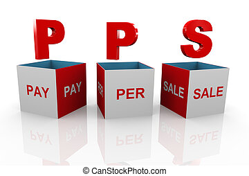 3d box of pps - pay per sale - 3d illustration of acronym...