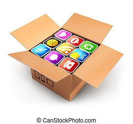 3d box with applications, isolated white background, 3d...