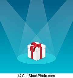 3d box with gift tied with red ribbon in the light of the rays
