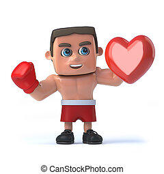 3d Boxer holding a red heart