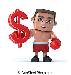 3d Boxer holds US Dollar currency symbol