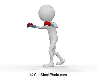 3d boxer making a jab