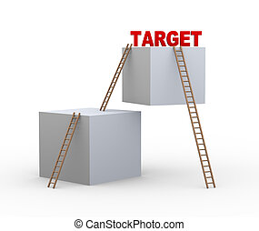 3d boxes, ladders and word target