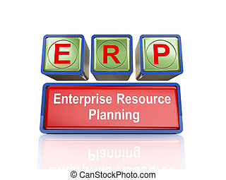 3d boxes of concept of erp