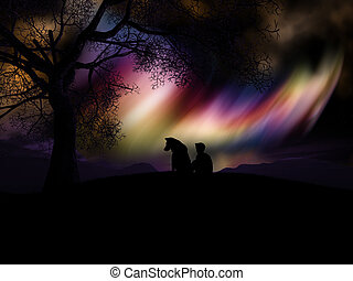 3D boy and his dog watching the northern lights