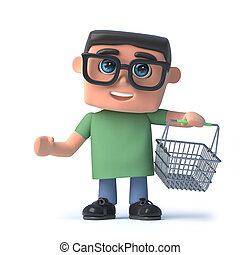 3d Boy in glasses goes shopping