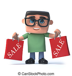 3d Boy in glasses has been to the sales - 3d render of a boy...