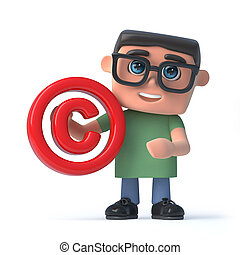 3d Boy in glasses holding a copyright symbol