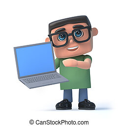 3d Boy in glasses holding a laptop pc