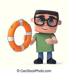 3d Boy in glasses holds a life ring