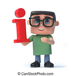 3d Boy in glasses holds a red information symbol