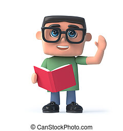3d Boy in glasses reading a book