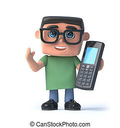 3d Boy in glasses talks on his cellphone - 3d render of a...