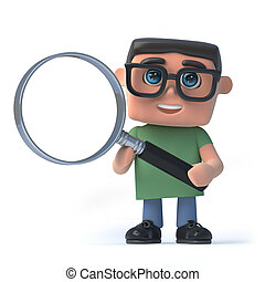 3d Boy in glasses using a magnifying glass