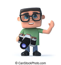 3d Boy in glasses with a camera