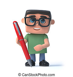 3d Boy in glasses writing with a pen