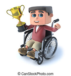 3d Boy in wheelchair wins the gold trophy