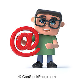 3d Boy wearing glasses holding an email address symbol