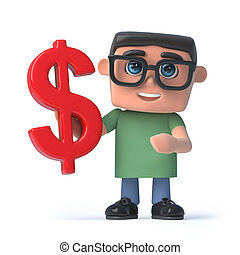 3d Boy wearing glasses holds a US Dollar currency symbol