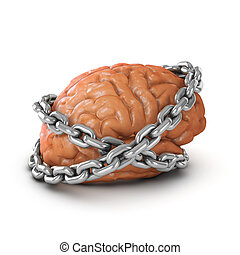 3d Brain chained - 3d render of a brain bound by chains