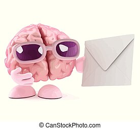3d Brain character gets mail