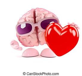 3d Brain feels love