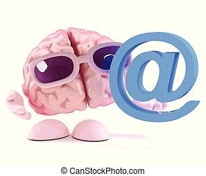 3d Brain has an email address - 3d render of a brain holding...