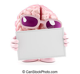 3d Brain holds a blank banner