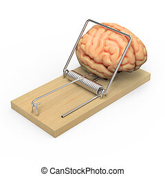 3d Brain in a mouse trap - 3d render of a brain in a...