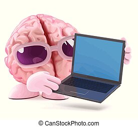 3d Brain laptop