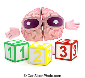 3d Brain learns math - 3d render of a brain with wooden...
