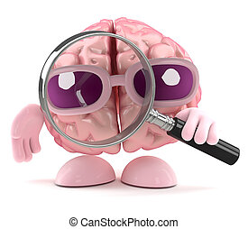 3d Brain magnifier - 3d render of a brain holding a...