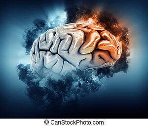 3D brain with storm clouds and frontal lobe highlighted