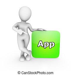 3d, branca, homem apontando, dedo, em, aplicação, para, smartphone