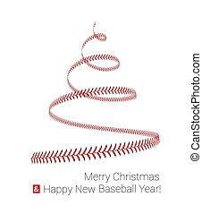 3d, branca, laço, baseball., torcido, forma, ilustração, árvore, natal