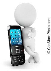 3d, branca, pessoas, amores, telefone móvel