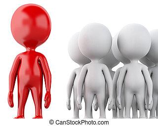 3d, branca, pessoas, com, a, vermelho, leader., equipe, conceito