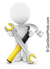 3d, branca, pessoas, com, reparar, ferramentas