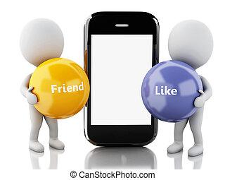 3d, branca, pessoas, com, smartphone., social, mídia