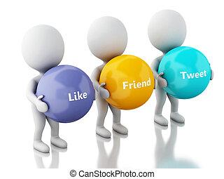 3d, branca, pessoas, com, social, mídia, bolhas