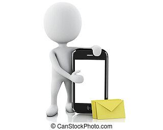 3d, branca, pessoas, com, telefone móvel, e, sms.