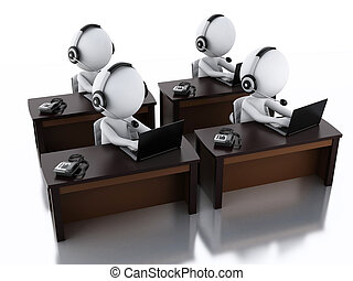 3d, branca, pessoas, com, um, fones, com, microfone, e, laptop.