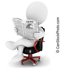3d, branca, pessoas, com, um, jornal