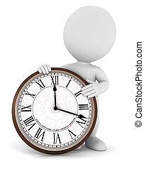 3d, branca, pessoas, com, um, relógio