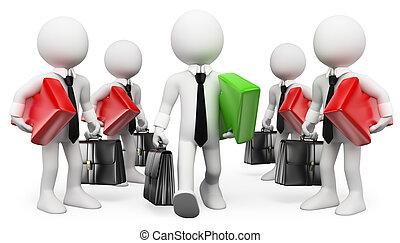 3d, branca, pessoas., entrepreneur., leader., homem negócios, sucesso