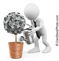 3d, branca, pessoas., homem negócios, aguando, um, planta dinheiro